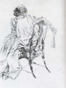 Rococo Model Charcoal Carl Larsson