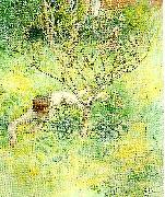 naken flicka under prunusbusken Carl Larsson