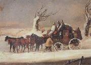 The Bath To London Royalmail Coach in the snow Henry Alken Jnr