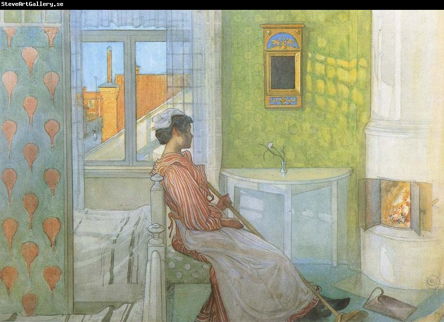 Carl Larsson Reading on the Veranda