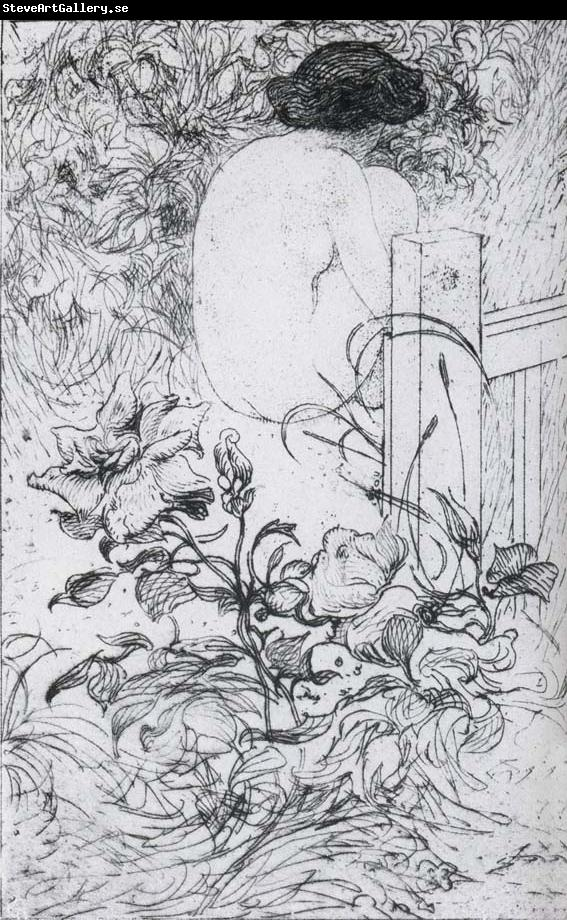 Carl Larsson A Rose and a Back Etching